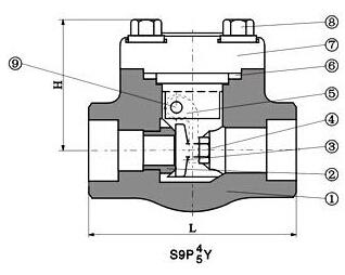 高温高压焊接止回阀产品结构图