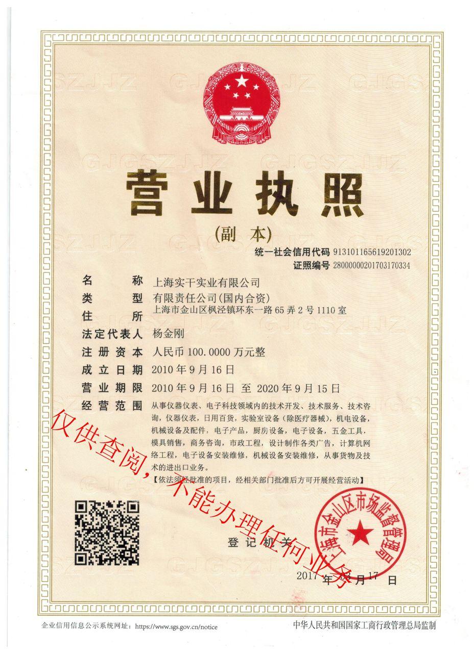 上海实干营业执照